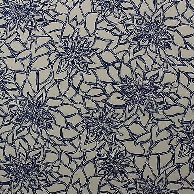 RICHLOOM MAITLIN PACIFIC BLUE FLORAL OUTDOOR INDOOR FABRIC BY THE YARD 54