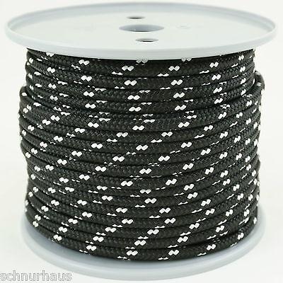 4mm 230daN PP Schnur 50m schwarz weiß,  Seil Schot Kordel Leine Reepschnur
