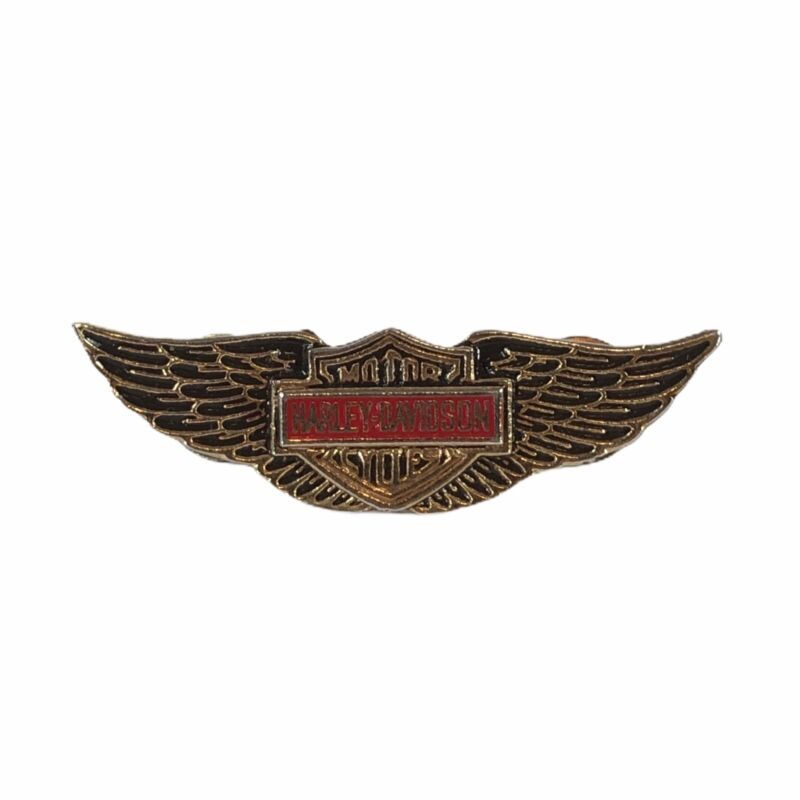 """Vintage 1970s Harley Davidson 2.25"""" Gold Wings Pin MM Limited Chicago"""