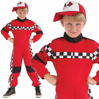 Boys Racer Driver Costume Child Red Formula 1 Racing Overalls Fancy Dress - Racer Boy Kostüm