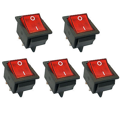 5 Pcs 4 Pin Dpst Onoff Mini Boat Car Rocker Switch Button 250v Red Led Us Stock
