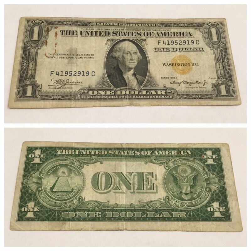 VINTAGE rare AFRICA $1 F-C 1935-A SILVER CERTIFICATE ONE DOLLAR YELLOW GOLD FC