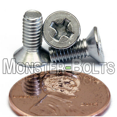 M4 x 10mm Stainless Steel Phillips Flat Head Machine Screws, Countersunk DIN 965