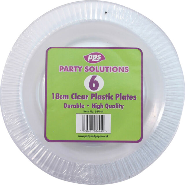 "30 x CLEAR ROUND PLASTIC DISPOSABLE PARTY PLATES 7"" 18cm STRONG DURABLE REUSABLE"