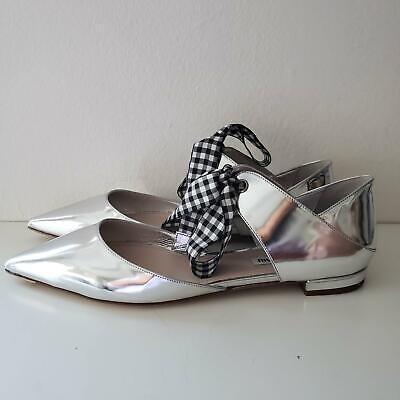 NEW Miu Miu Pointed Toe Flat Ballerina Shoes Metallic Silver $790