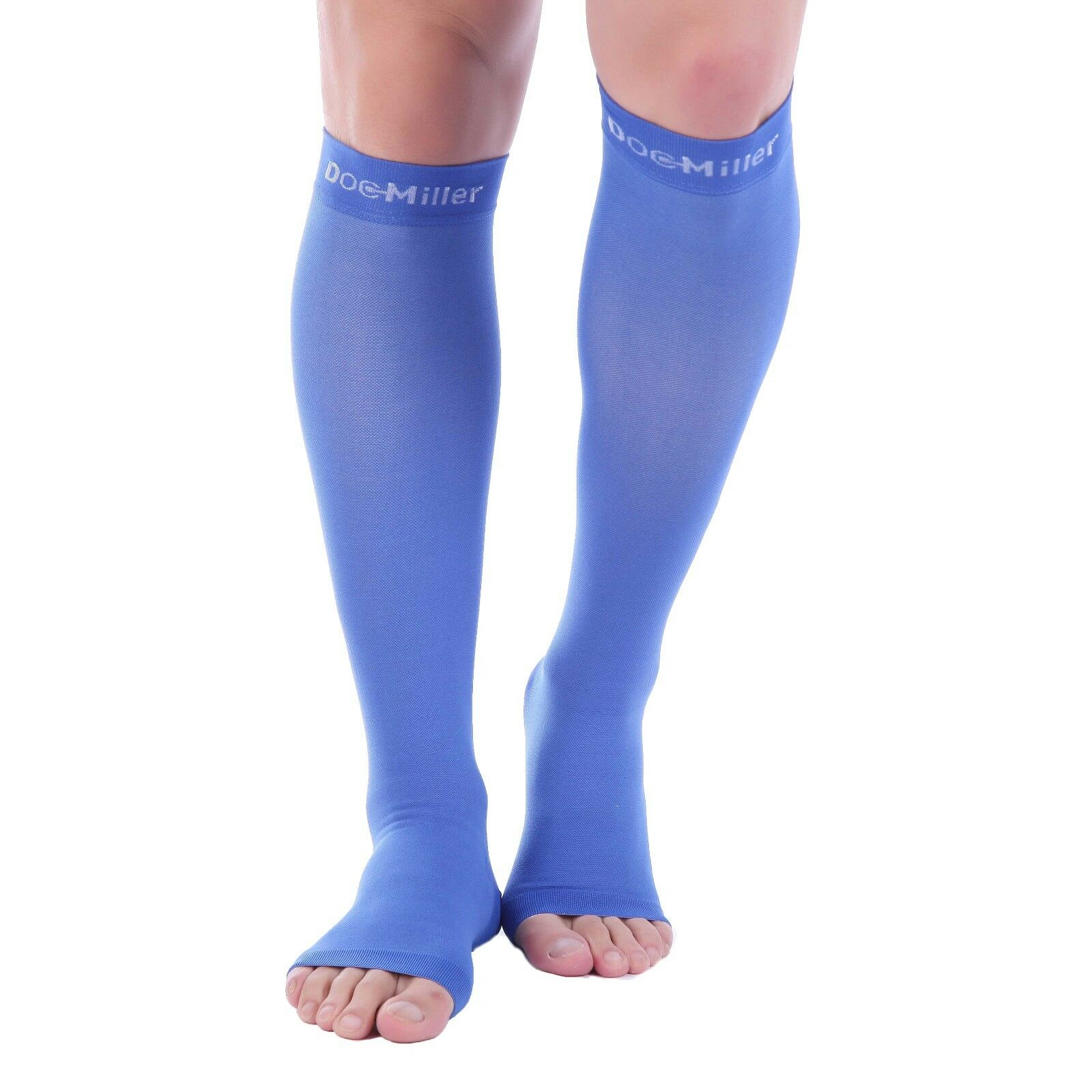 71e27f8f9 Details about Doc Miller Open Toe Compression Sleeve 30-40 mmHg Varicose  Veins BLUE