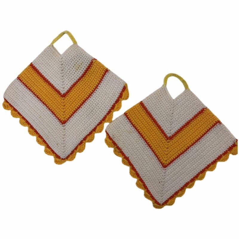 Handmade Crocheted Potholders (2) Vintage Orange Yellow Hot Pads