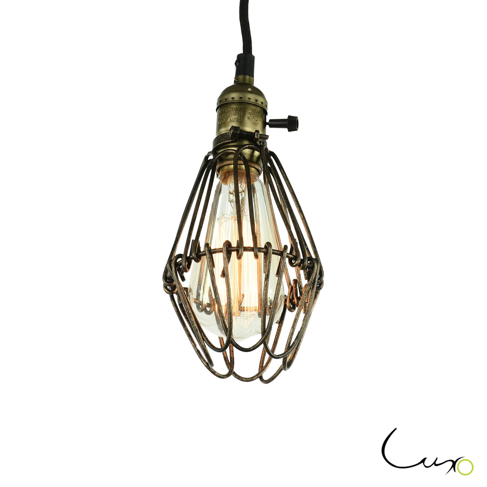 vintage industrial cage hanging pendant light fitting