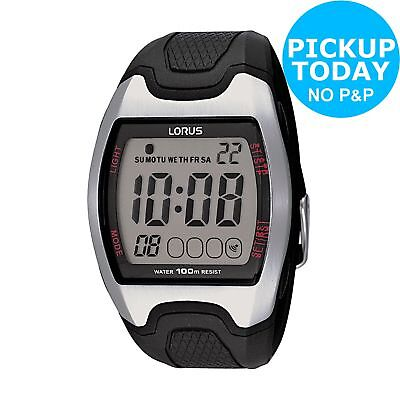 Lorus Men's Black Resin and Case Grey Dial Strap Digital Sports Watch