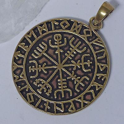 magischer Vegvisir Wikinger Kompass + Lederschnur Bronze Runenkreis Runen Kompaß