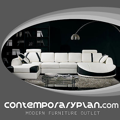 - Ultra Contemporary Leather Sectional Sofa with Curved Chaise White Black Modern