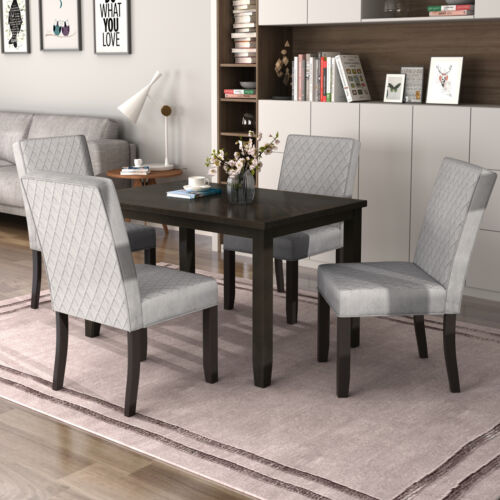 5 PC Dining Set Upholstered Dining Table&Chairs Wooden Dinin