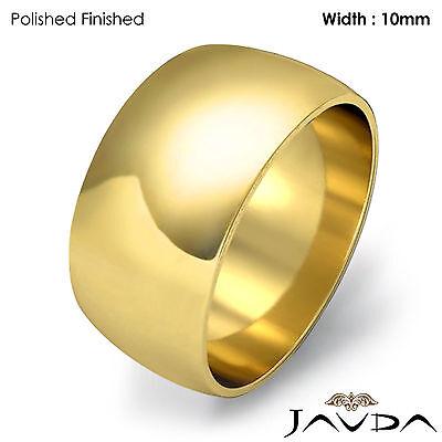 Women Plain Dome Polish Wedding Band 10mm 18k Yellow Gold Ring 10.5gm Sz (18k Yellow Gold Plain Dome)