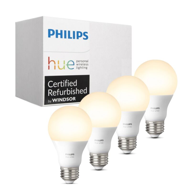Philips 472027 Hue White Dimmable 60W A19 Gen 3 Smart Bulbs - 4-Pack