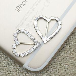 50x Heart Rhinestone Crystal Buckles Ribbon Sliders Diamante Wedding Decoration