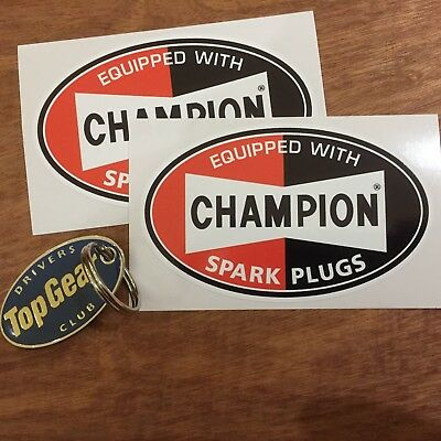 CHAMPION EQUIPPED WITH Retro Vintage Old Style Oval Car Stickers Decals 104mm