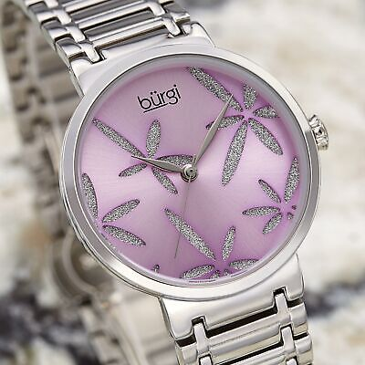 Women's Burgi BUR190SSPU Sparkle Flower Slver Stainless Steel Bracelet Watch