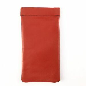 Soft Leather Snap Spring Top Glasses Spectacles Case Pouch MALA LEATHER Red