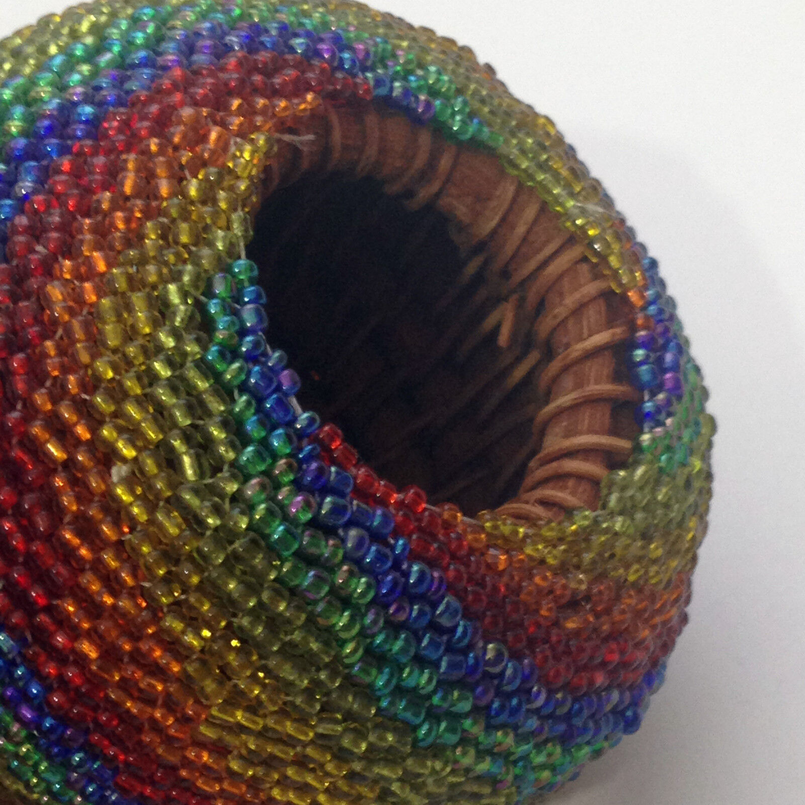 Handmade Beaded Basket : Handmade beaded colorful ball round shape woven small