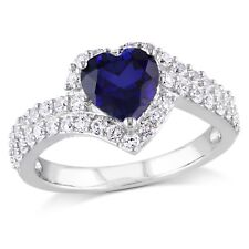 Haylee Jewels Sterling Silver Created White and Blue Sapphire Heart Ring