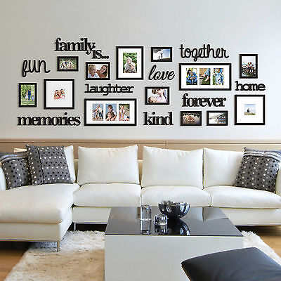 22 Piece Family Photo Frame Set Picture Collage Black Home Wall Art Decor NEW