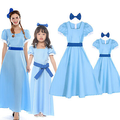 Wendy Costume (Peter Pan Wendy Darling Princess Blue Long Dress Cosplay Costume Adults /)