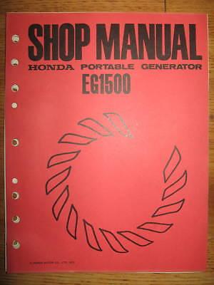 Honda Eg1500 Portable Generator Oem Honda Shop Manual