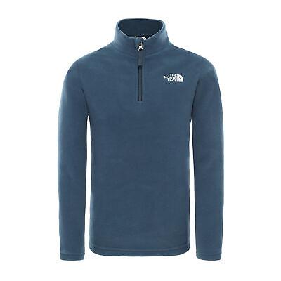 The North Face Glacier Quarter Zip Kids Jacket Fleece - Blue Wing Teal Tnf White