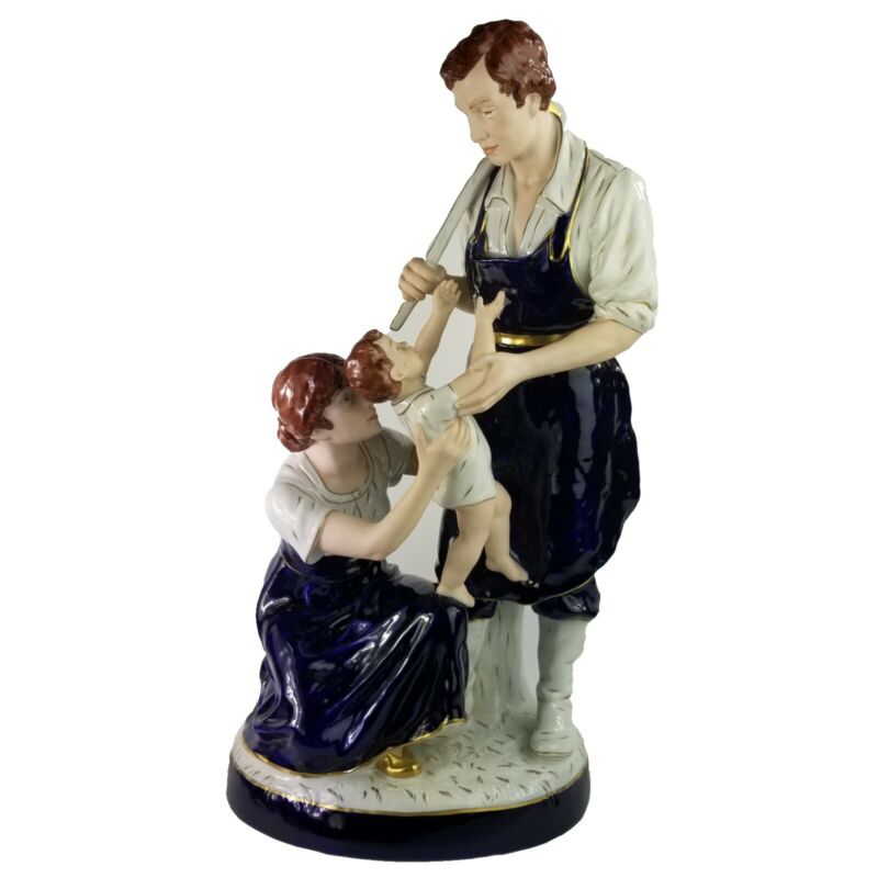 Antique Royal Dux Blacksmith Family Large Porcelain Figurine Group 24 Inches