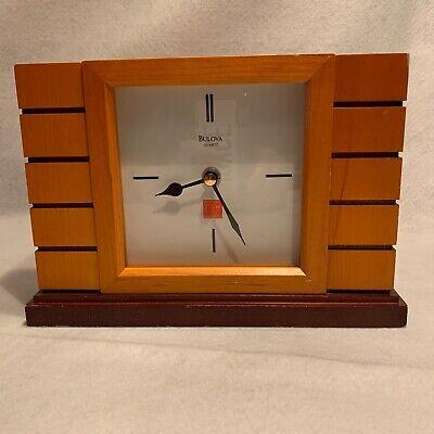 Bulova Quartz Frank Lloyd Wright Wood Mantle Battery Operated Clock