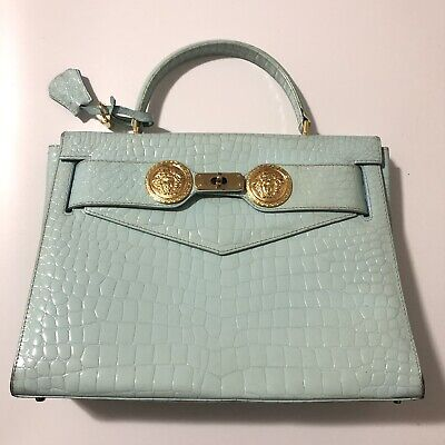 Rare Vtg Gianni Versace Mint 90s Croc Patent Leather Kelly Medusa Bag