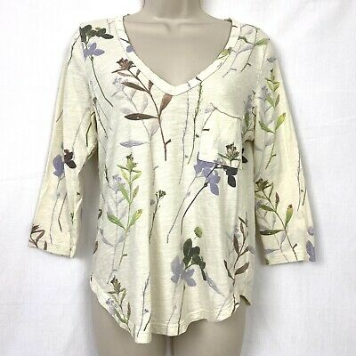 T.La Anthropologie Top S Floral V-Neck 3/4 Sleeve Cream Ivory Cotton Knit Small