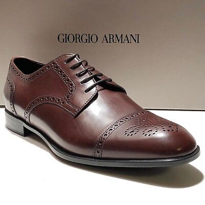 Giorgio Armani Brown Leather Brogue Dress Derby 9 42 Oxford Men s Formal  Shoes 51315f9303d