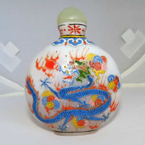 "3.1"" Chinese White Glass Snuff Bottle w/ Enameled Yellow & Blue Dragons & Marks"