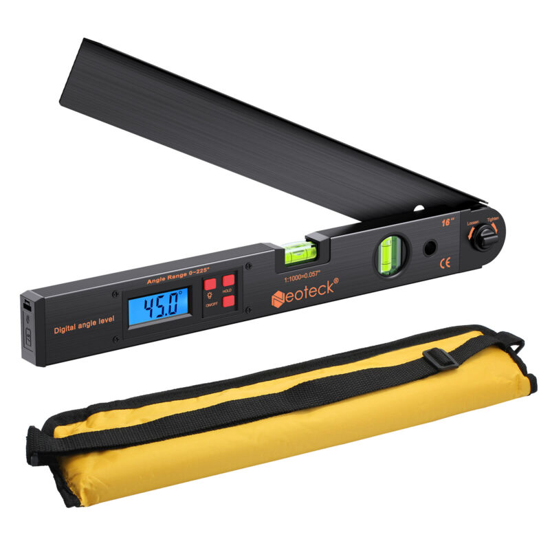 0~225° Digital LCD Protractor Ruler 400mm Spirit Level Angle Finder Meter Black