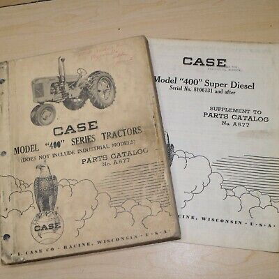 Case Model 400 Series Tractor Parts Manual Book Catalog List Spare Vintage Farm