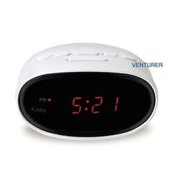 Venturer Digital Alarm Clock AM FM Radio White with LED Display and Snooze CR20W