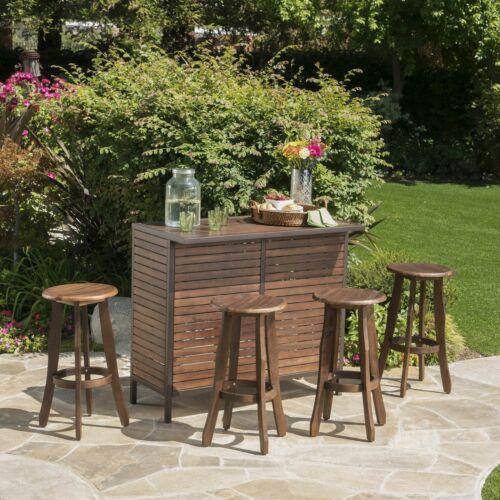 Pierre Outdoor 5 Piece Dark Brown Finished Acacia Wood Bar Set Home & Garden