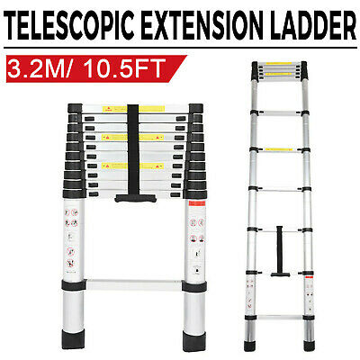 10.5ft 3.2m Aluminum Telescopic Extension Step Ladder Loft Attic Portable Home