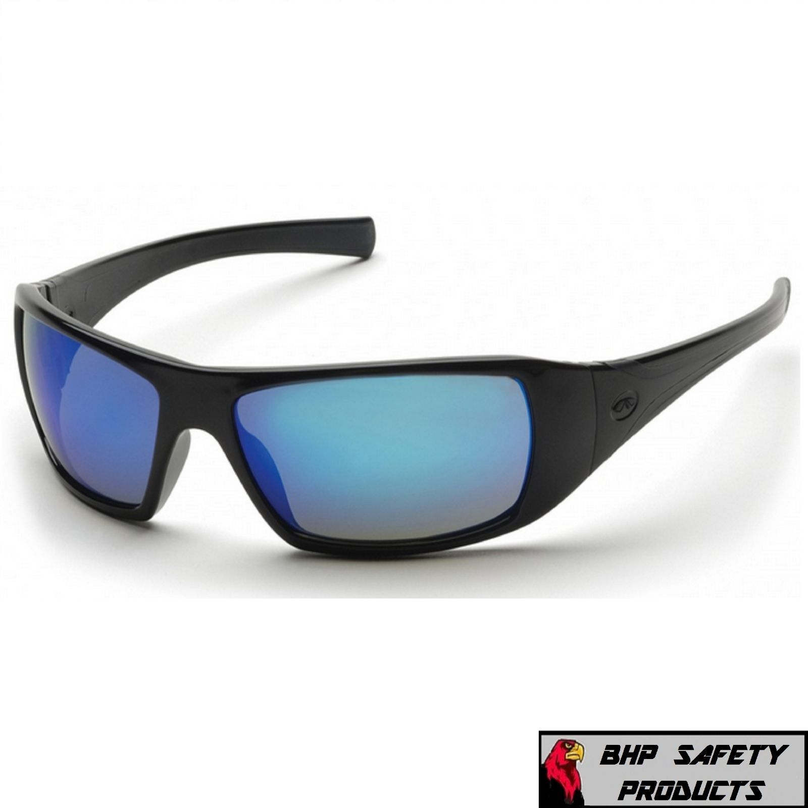 PYRAMEX GOLIATH SAFETY GLASSES MOTORCYCLE SPORT WORK SUNGLASSES Z87+ (1 PAIR) Ice Blue Mirror Lens/ Black Frame SB5665D