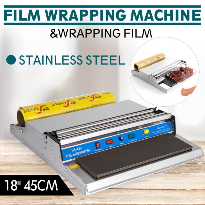 "18"" Food Tray Film Wrapper Wrapping Machine W/Film Storage Teflon Plate Shrink"
