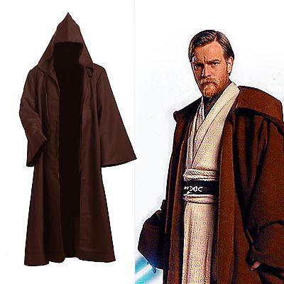Star Wars Adult Hooded Jedi Schwarz Braun Robe - Handgefertigte Star Wars Kostüme