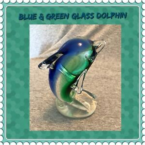 BLUE / GREEN GLASS DOLPHIN FIGURINE