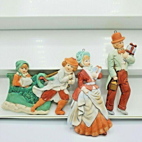 Vintage Kurt Adler OrnamentVictorian Family Set Children Sled Bisque Lot of 3