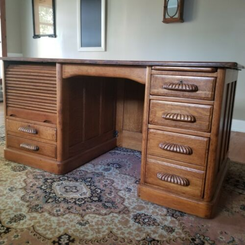 "Antique Tiger Oak Executive Office Desk - 60"" Wide"