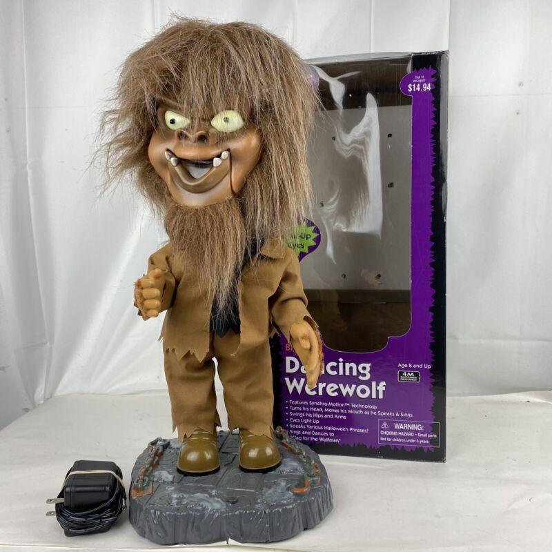 Gemmy Halloween Big Head Werewolf Dancing Animated Singing Wolfman With Box