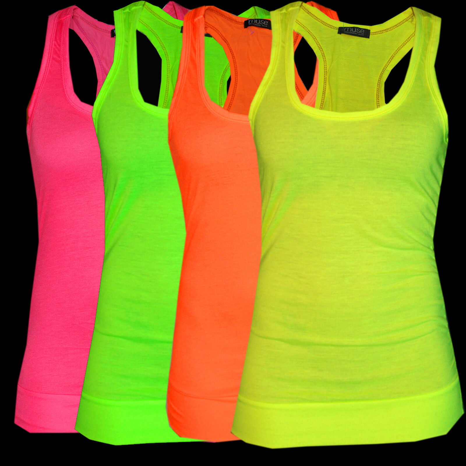 Tops, Tank Top, Top, neon, neon gelb, neon pink, neon orange, One-Size 34 36 38