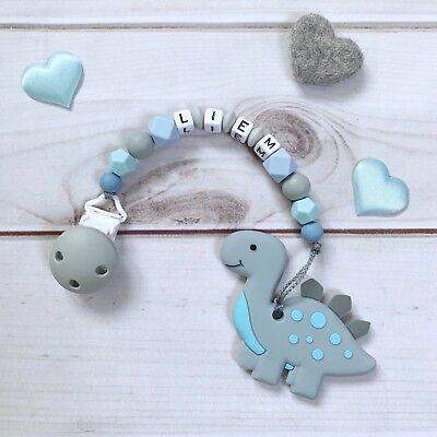 Schnullerkette mit Namen Beißkette Beißring Silikon hellblau grau Dino