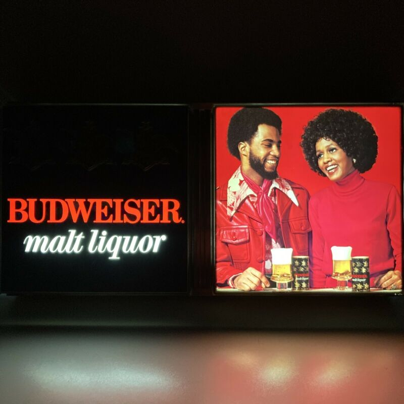 Rare Vintage 1973 BUDWEISER Malt Liquor African American Lighted Beer Sign Afro