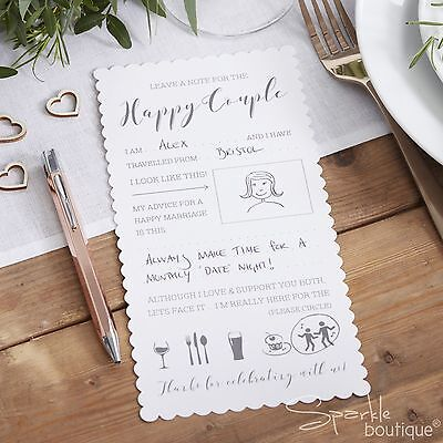 White ADVICE CARDS For The BRIDE AND GROOM Wedding Wishes Reception Guest Book